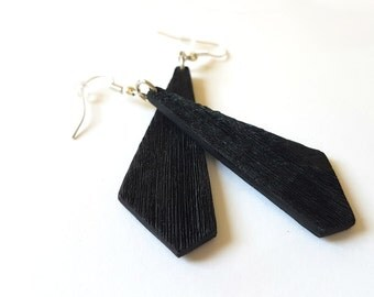 Long Black Geometric Dangle Earrings