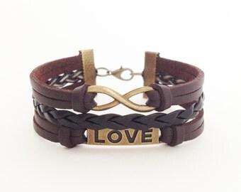Love bracelet Infinity bracelet Antique bronze bracelet Brown leather bracelet Friendship bracelet Bff gift