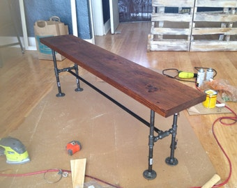 Industrial Bench - Reclaimed wood bench - Steel pipe and wood bench