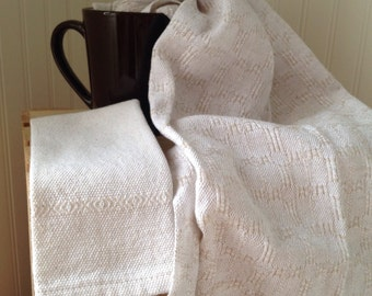Together towel and linen in cotton linen full weave by hand.