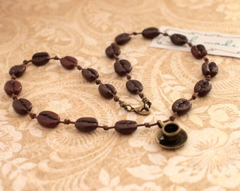 Coffee beans necklace Cup of coffee Waxed cord with coffee beans Woven coffee beans necklace Coffee Lovers