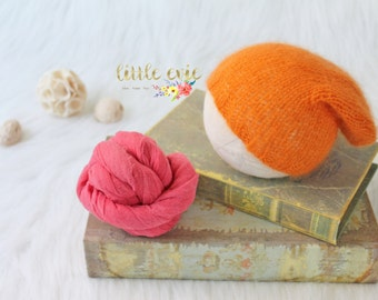 Knit Newborn Slouchy Beanie, Newborn Wrap Set, Newborn Hat, Newborn Photography Prop