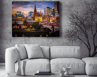 Melbourne photograph:  Skyline of Princes Bridge as viewed from Southbank. FREE SHIPPING within AUSTRALIA