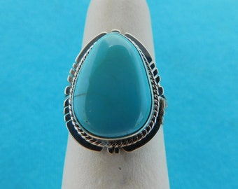 NEW NATIVE AMERICAN Royston Turquoise Ring in Size 7 set in Sterling Silver