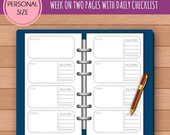 PERSONAL WO2P Horizontal with Daily Checklist Insert Printable | Fits Kikki K Medium & Filofax Personal Instant Download
