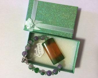 Agate Bracelet set with Multi Color Jade