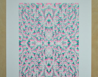 Geometric Screenprint, 3D style print, Graphic Wall Art, Triangles, Limited Edition Print