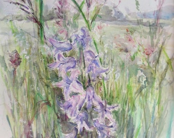Watercolour flower painting, original wildflowers, botanical floral illustration, meadow summer countryside illustration, green, purple