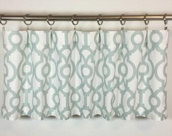 Pale Blue Valance - Geometric Window Valance - 50x16 - Cotton Lined - Lyon Snowy Print - Rod Pocket - Scalloped - Curtain