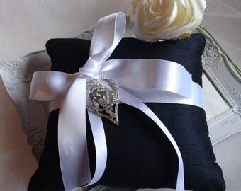 Ring Bearer Pillow, Navy Ring Pillow, Wedding Ring Pillow, Silk Ring Pillow, Blue Ring Pillow, Satin Ring Pillow, Ring cushion