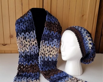 Crochet Hat and Scarf Set, Slouch Hat and Scarf, Winter Hat and Scarf Set