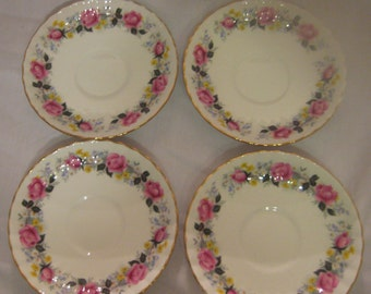 "Royal Staffordshire bone china ""Summer Glory"" saucers - set of 4"