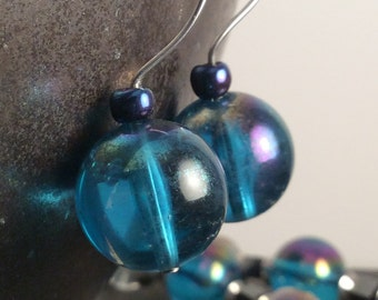 iridescent turquoise earrings - free shipping