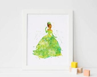 Princess Tiana and Frog - Watercolor, Art Print, Home Wall decor, Watercolor Print, Disney Princess Poster