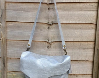 Silver Grey Metallic Leather Hobo Bag