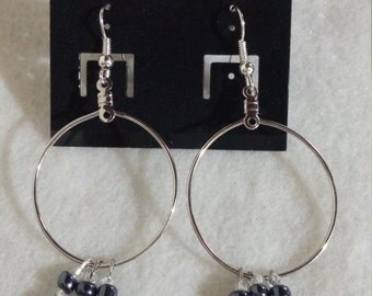 Large Hoop Dangling Glass Bead Earrings