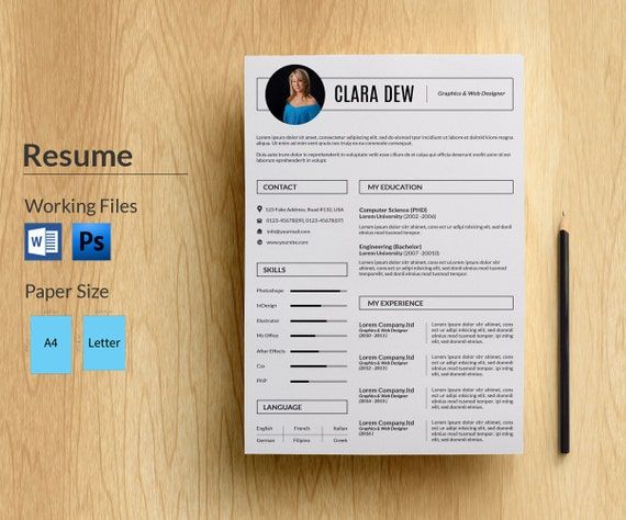 resume template in word and photoshop cv template