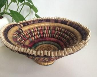 Vintage Small Handmade Woven Native American Colorful Coil Basket Boho