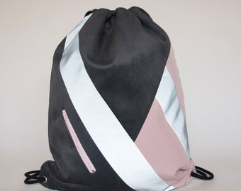 Vegan Suede Drawstring Backpack Minimal Geometric Coloured Vegan-PHER-Unisex Rucksack