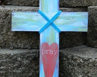 Pray Mixed Media Painted Cross