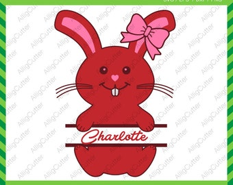 Easter Cute Bunny Split Frames SVG DXF PNG eps Rabbit Monogram Bow Files for Cricut Design, Silhouette studio, Sure Cut A Lot, Makes the Cut