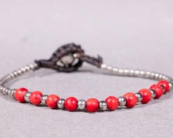 Red Silver bracelet   B-21