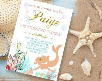 Mermaid birthday invitation, Mermaid invitation, Under the sea, 1st Birthday, 2nd, 3rd, 4th, 5th, party invite, Printable Invitations