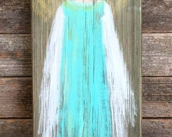 Hand Painted Angel on Reclaimed Wood