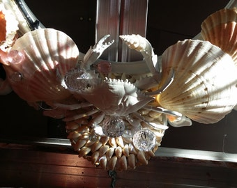 Seashell//wreath//Frame//Shabby Chic//Hollywood Regency//Baroque style//