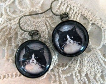 Fluffy Black And White Cat Earrings