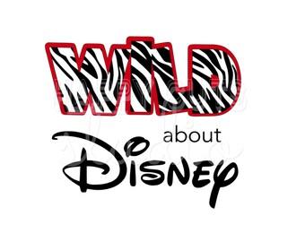 Wild About Disney Decal / Cheetah Safari Magic Kingdom Giraffe Animal Print Minnie Mouse Girl Outfit Mom Disney Iron On Vinyl for Shirt 129