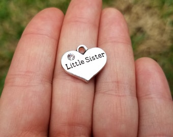 5 pieces Stamped Heart, Little Sister Heart Charm, Heart Charm with Rhinestone, Little Sister Charm B40115H