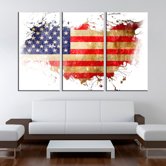 Usa map with flag watercolor canvas print flag living room for Home decor online shopping usa