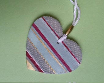 Wooden striped heart to hang. Gold, light blue, grey, magenta with decorative lace. Glam decor, retro chic, boho chic decor. OOAK