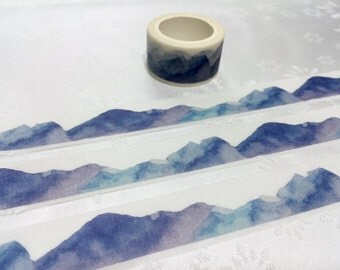 blue mountain washi tape 5M x 2cm blue hills nature scenes Masking tape watercolor world scenes blue landscape scenes mountain sticker tape