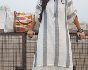 Grey striped cotton dress