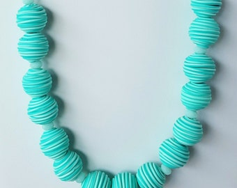 Mint Green Beads and Silver Chain Necklace