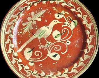 1930s Mexican Tlaquepaque Bandera Redware Pottery Plate w. Long-Tailed Bird