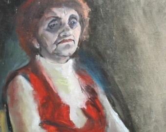 Vintage naivist oil painting portrait