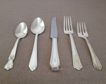Vintage Silverplate Flatware Set,Five (5) Piece Place Setting,Mismatched Silver Plate,Silverware,Mixed Patterns,Wedding,Tea Party,Showers