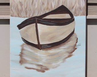 Brown Boat on a Lake: Original Acrylic Painting on Stretched Canvas, 11x14 inches