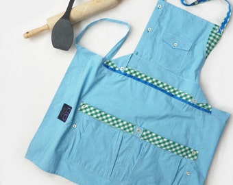 Upcycled Repurposed Apron-   Aqua Gingham - FREE SHIPPING in the US