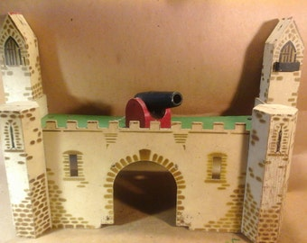 Vintage Toy Stenciled Wood Castle