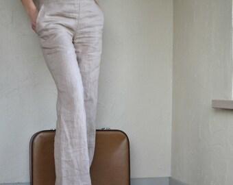 Linen Pants -  elegant Casual cream Linen Trousers