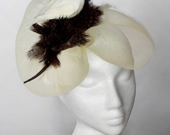 Brown and Cream Feathers with Dove Fascinator