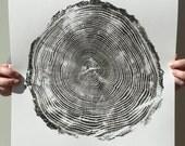 "Original Handmade Tree Print ""John, 43 Years"" in Black (14""x17"" unframed)"