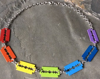 Rainbow Razor Blade Necklace