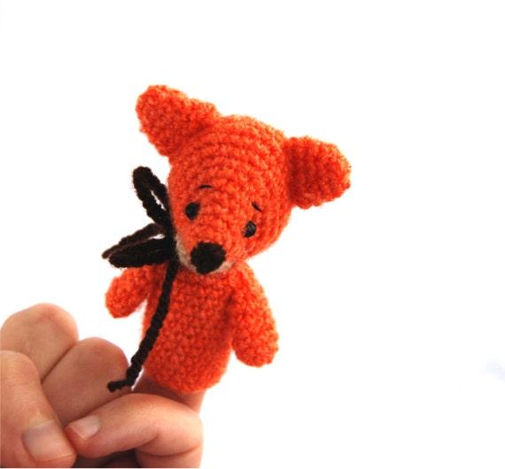 crochet FOX finger puppet amigurumi fox puppet play theater