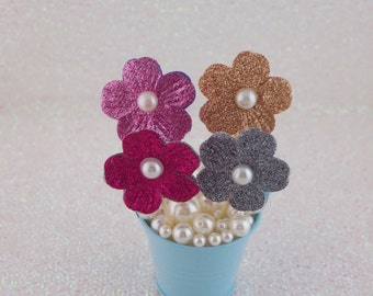 Flower Cake Toppers, Floral Cake Toppers, Glitter Party Sticks, Cupcake Topper, Cake Topper, Cake Decorations,