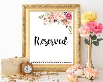 Tribal Boho Reserved Sign, Floral Boho Wedding Sign, Peonies Boho Reserved Sign, Wedding Reserved Sign Printable Sign Instant Download 109-W